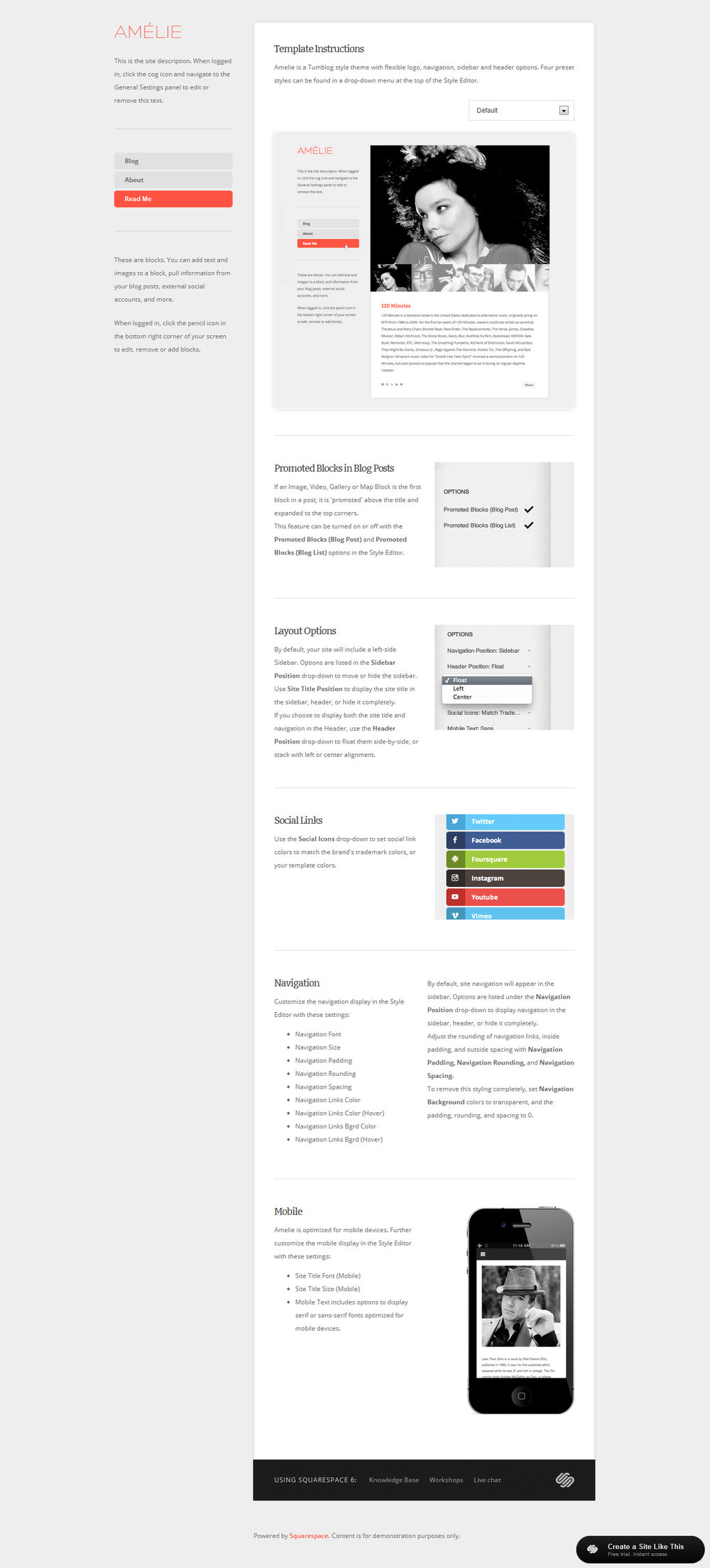 Amelie read for Squarespace templates with sidebar