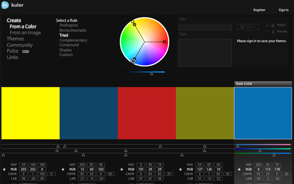 Adobe Kuler is a handy color palette ideation tool  and Photoshop extension for Squarespace web design pro's.