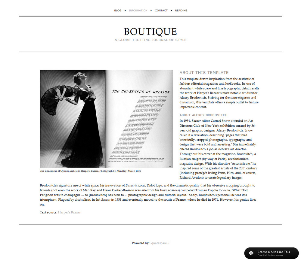 squarespace templates with sidebar - boutique