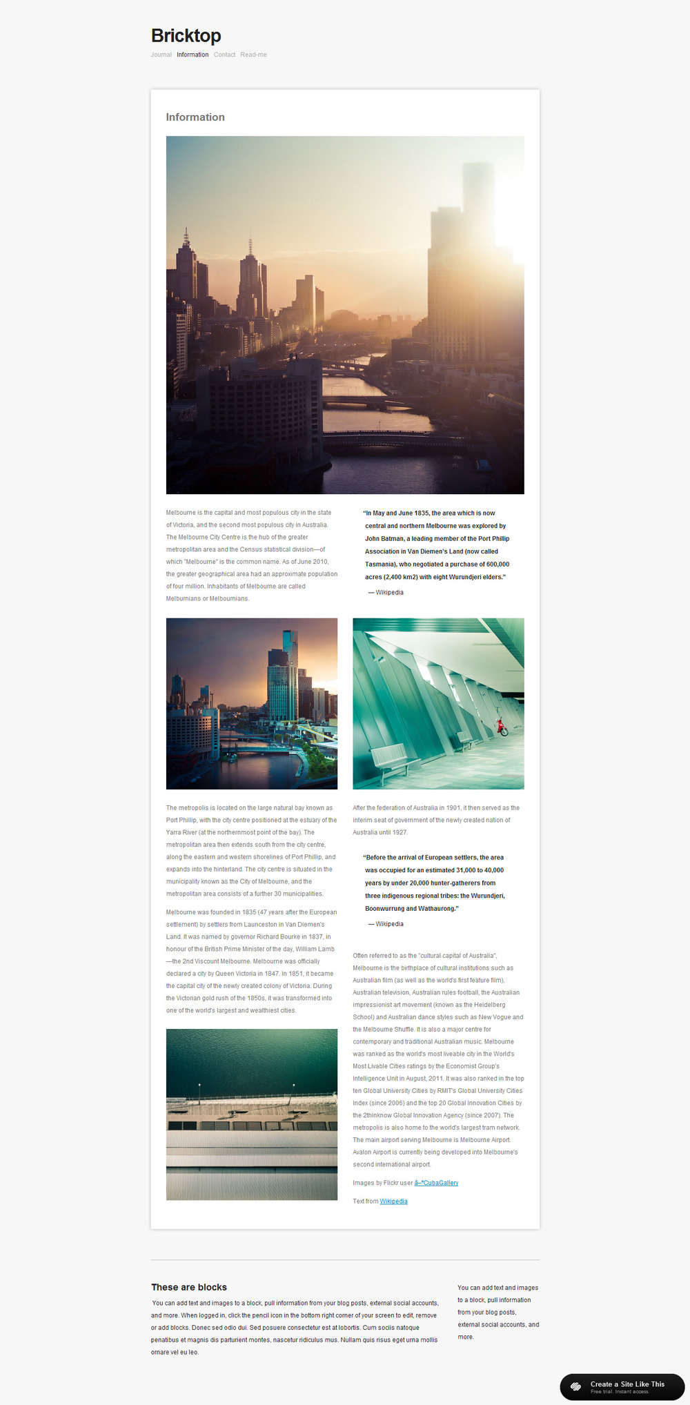 Bricktop for Squarespace templates with sidebar