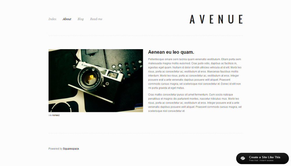 Avenue for Squarespace templates with sidebar