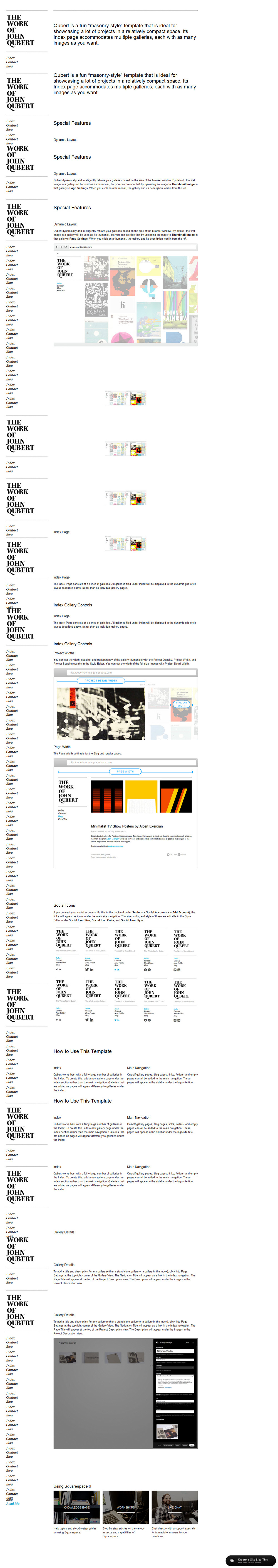 Qubert read for Squarespace templates with sidebar