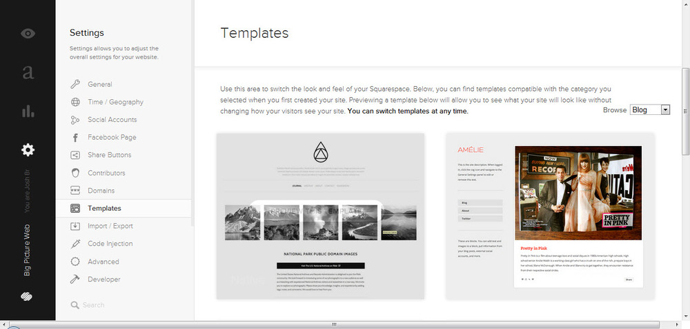 Squarespace templates enable you to create a high quality website or blog.