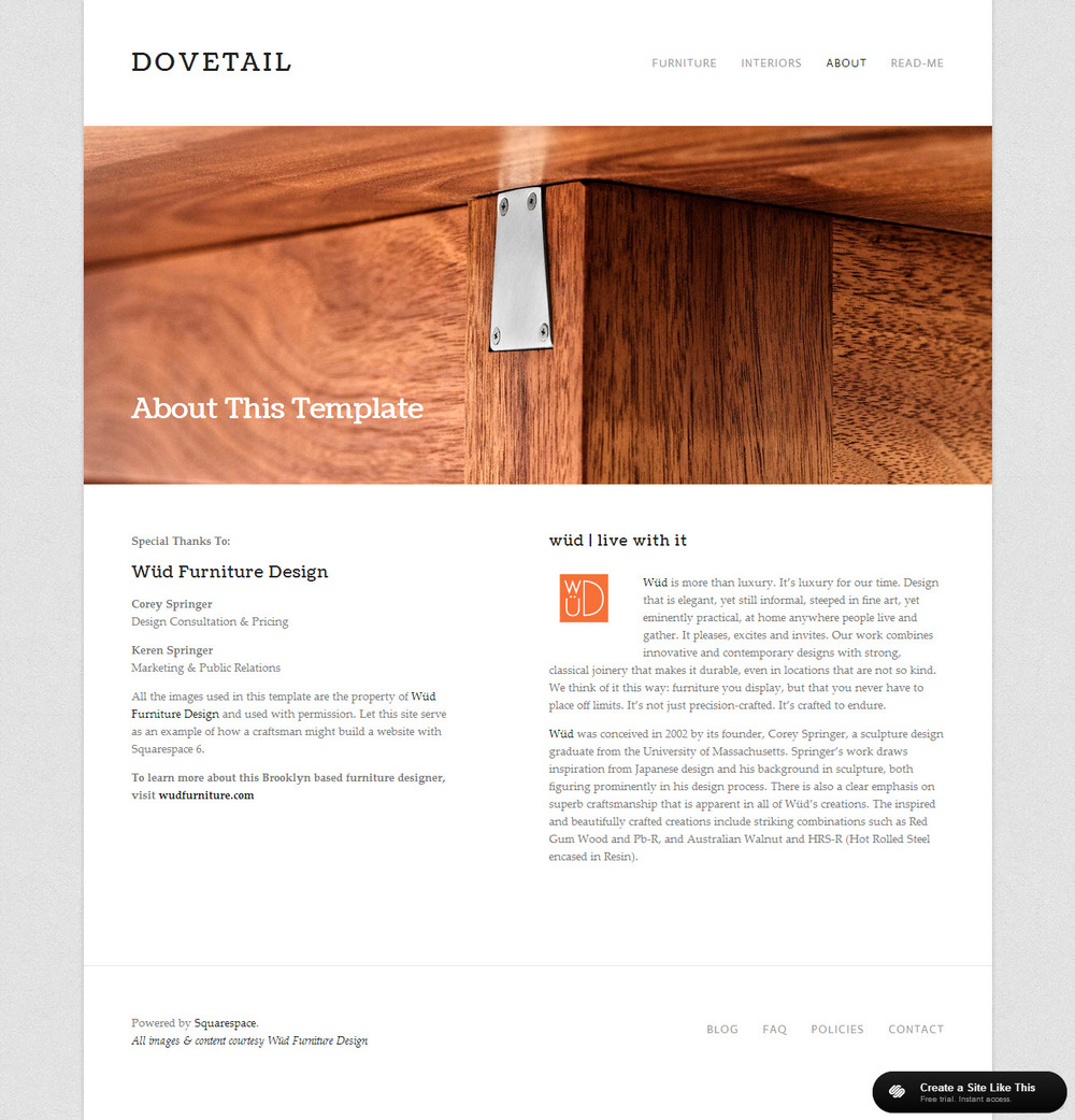 Dovetail for Squarespace templates with sidebar
