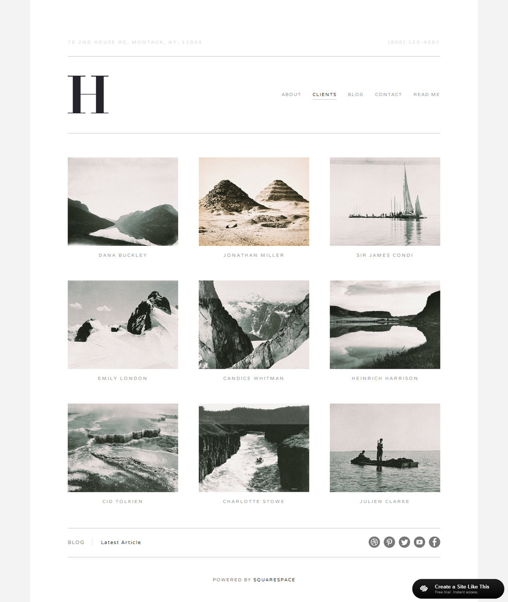 Hudson galleriesjpg for Squarespace portfolio templates