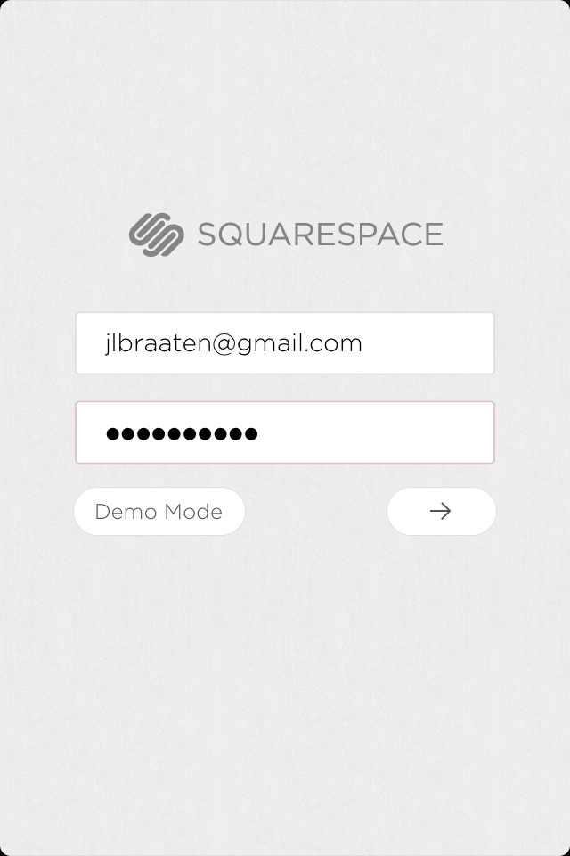 Log in with your Squarespace credentials.