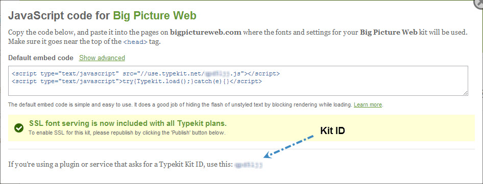 Snag your Typekit Kit ID from your Embed Code dialog box.