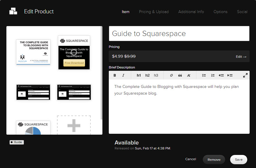 Manage all facets of your product within Squarespace's intuitive user interface.