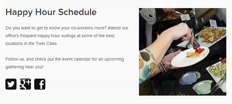 This event landing page promotes our happy hour series.