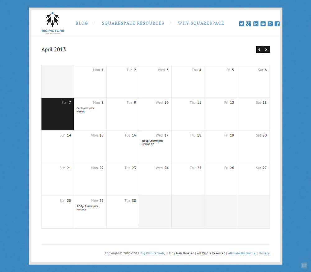 A Squarespace Calendar with a calendar-style, full-width layout.