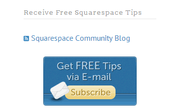 An RSS feed featured on a Squarespace site.