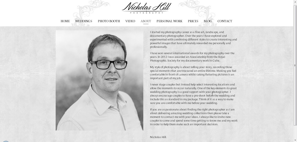 NicholasHillPhotography.co.uk is beautifully built on Frontrow.
