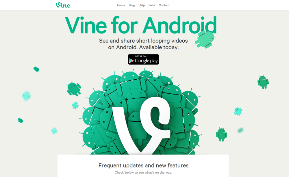 Vine for Android splash page.