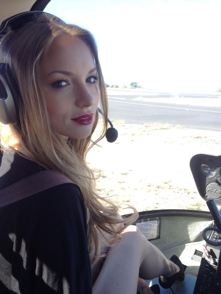"Gorgeous Katerina Bravve in a helicopter for her ""Sudden Addiction"" shoot."
