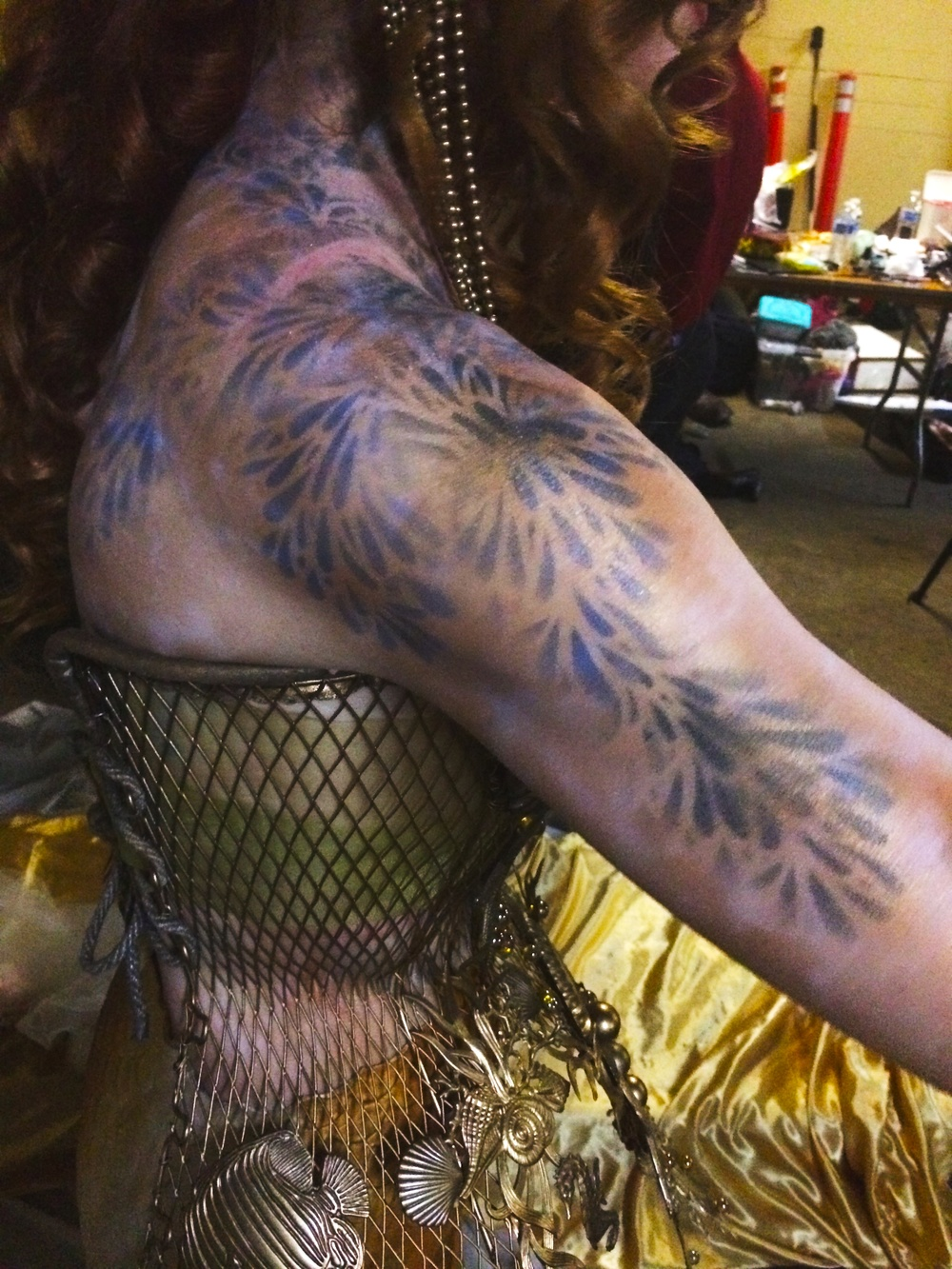 My bodypainting to compliment Catalina Mermaid's gold tail and gold metal corset.