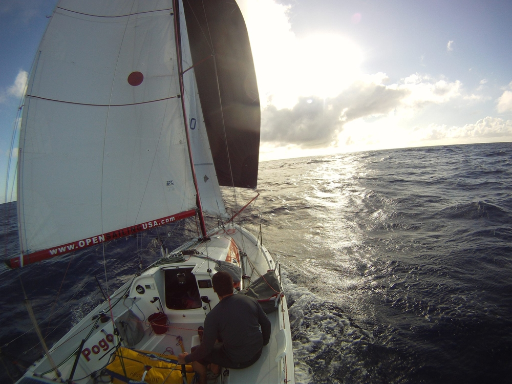 Jerome Sammarcelli in his Pogo 2 (2012, Singlehanded TransPac from San Francisco to Hawaii)