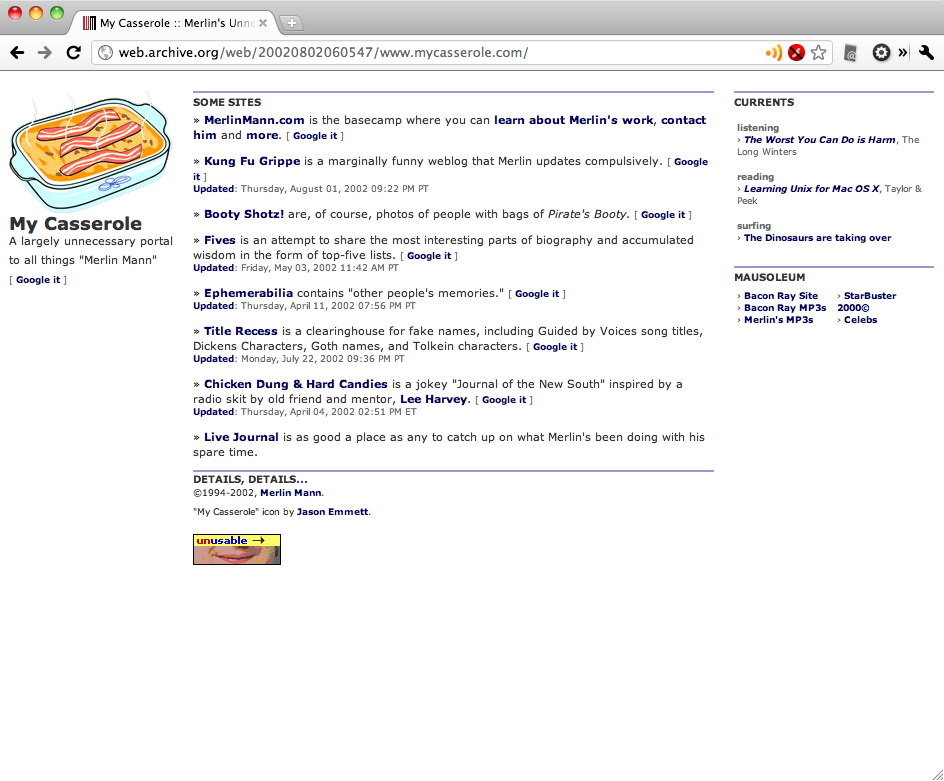 MyCasserole.com - Merlin's Unnecessary Portal - 2002.jpg
