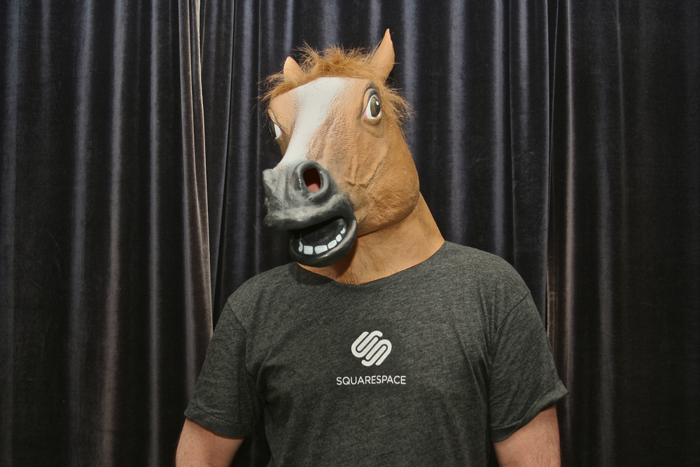 Merlin, horsin' around with Squarespace.
