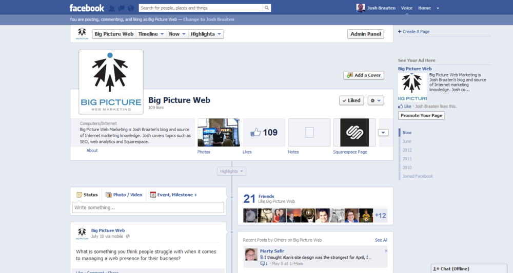 Facebook Timeline for BigPictureWeb.com's Facebook page.