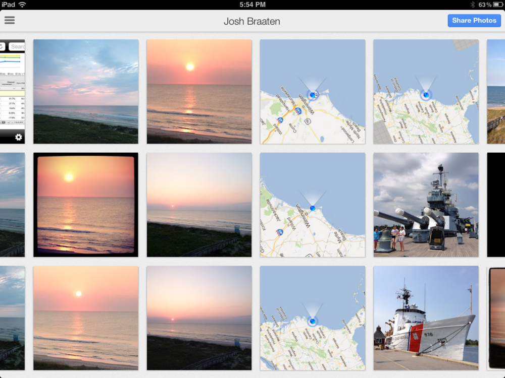 The Google+ iPad app allows you to easily share photos previously uploaded to Google+ using Instant Upload.
