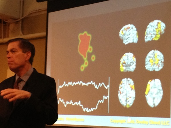 Roger Dooley demonstrated a fascinating clip that showed eye tracking and brain activity of a person exposed to a TV ad.