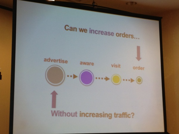 Justin Cutroni's presentation asked how we could do more with the same traffic. Testing!