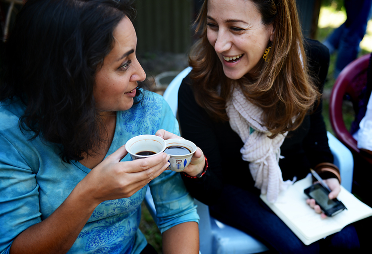 Asha Dornfest and Liz Gumbinner share Saba's fresh coffee.  I probably don't have to tell you that it was good to the last drop.