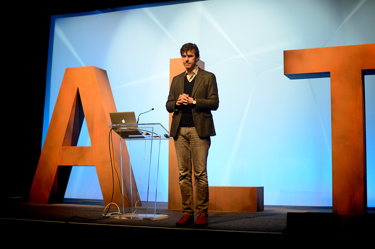 This is Stefan Sagmeister.  If you are a graphic designer, you probably shrieked with delight at that last sentence.  If you're not a graphic designer or are otherwise unfamiliar with his work (like I was), then from what I understand, he is to graphic design what Annie Liebovitz is to photography:  arguably one of the most (if not The Most) influential graphic designers currently alive.  His work and his talk were at once incredibly charming and undeniably shocking, and I fell deeply in love with him.  He has done several TED talks, but this one, on his 7 rules for more happiness, most closely mirrors his talk at ALT.   It was really quite the coup for ALT to get him to come speak, and I, for one, am so thrilled they did.