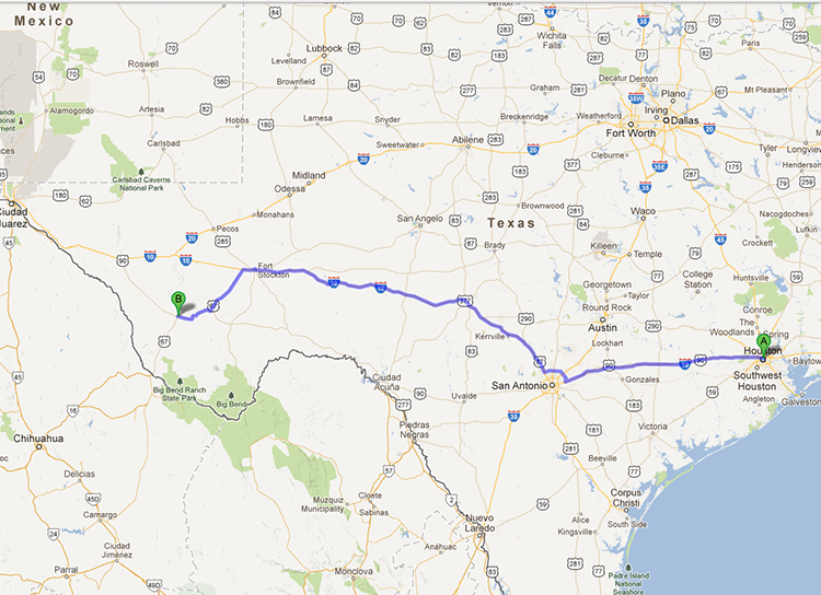 That's 600 miles of bona fide Texas asphalt, baby!