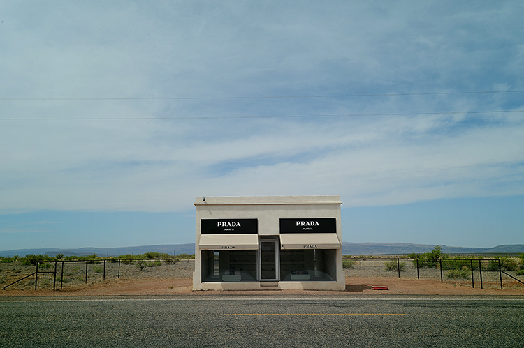Prada, Marfa  .  Driving up on this thing, just sitting out in the middle of the desert, with nothing else for miles, was definitely one of the most surreal experiences of my life .