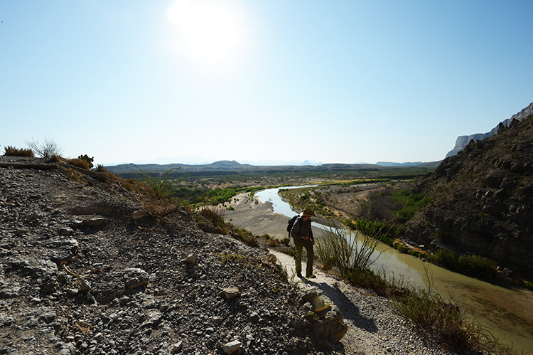 Marcus, at the beginning of our hike into Santa Elena Canyon, on the United States/Mexico border.  The river below is the Rio Grande.