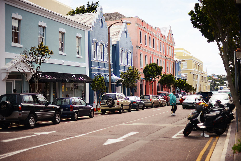 Downtown Hamilton, the capital of Bermuda.