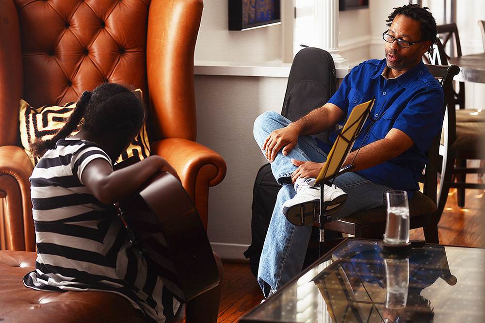 The guitar lesson.  (At home, September 2014.)