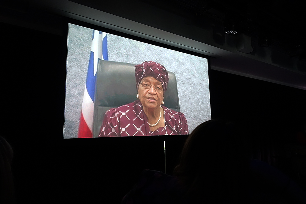 """Nobel laureate Ellen Johnson Sirleaf, president of Liberia, addressed us via video. """"Help us by urging your Congress to lend its support to help end ebola, and prevent the stigmatization of its victims,"""" she said. And incidentally, if you'd like to do more to help end ebola, you can give generously to these trusted organizations."""