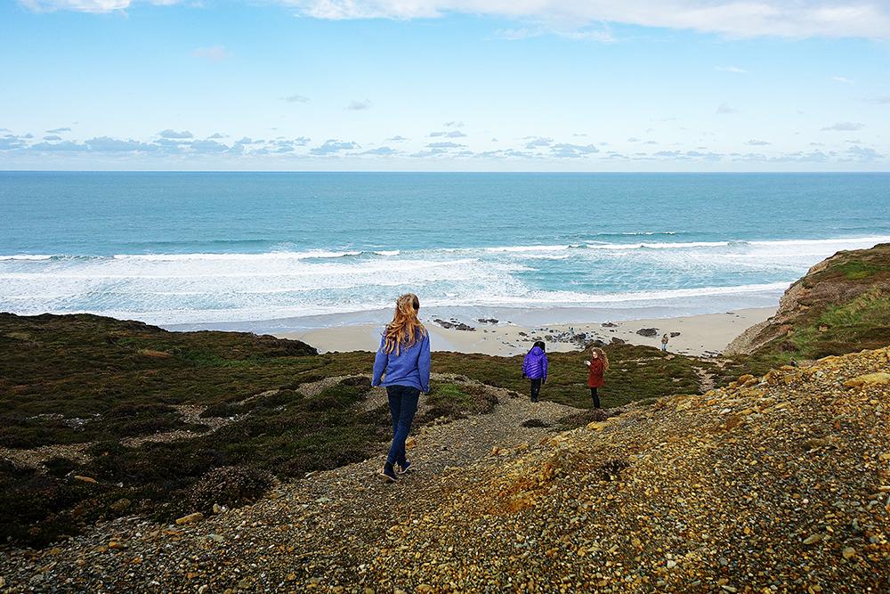 Cousins on Porthtowan beach, Cornwall.