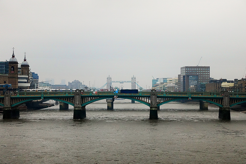 London, in its grey, drizzly glory.  As it should be.