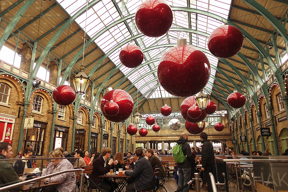 The inside of Covent Garden market was already decked out for Christmas.
