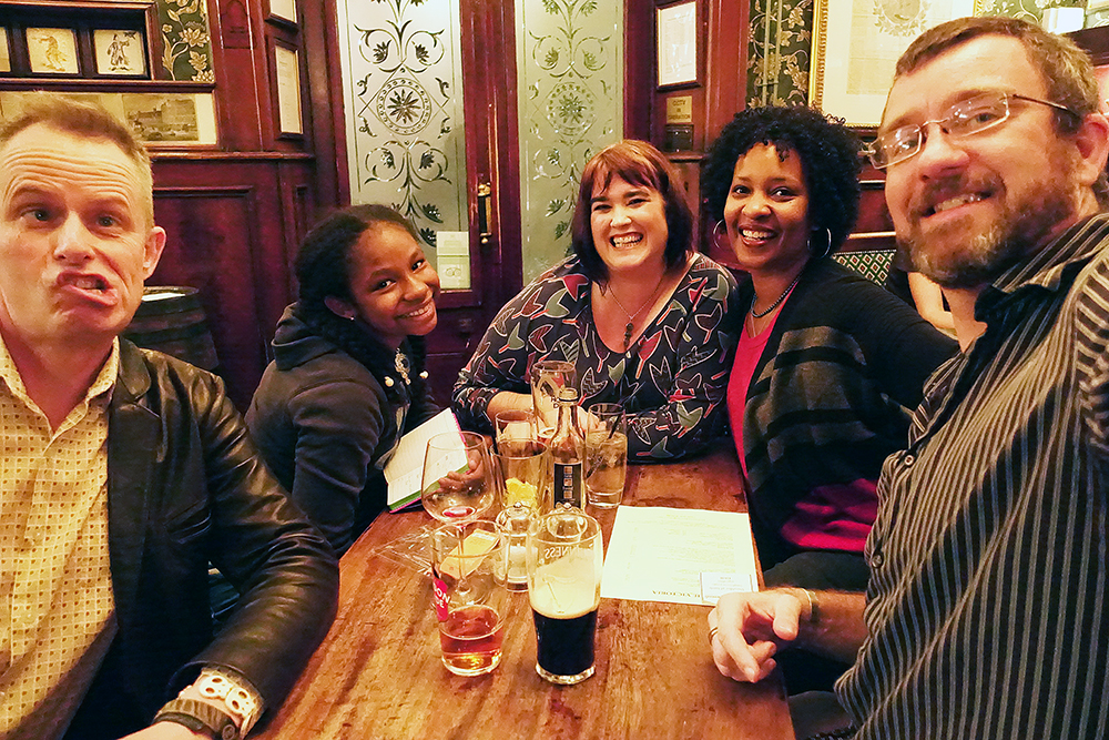 Our final night in England, we met Marcus' childhood friend, Justine, and her husband Al at a Victorian pub.  We hadn't seen them in years (they hadn't met Alex yet!), so it was great to catch up.  And Alex adored them so much, they're now officially her fairy godparents.
