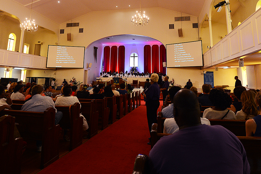 Wesley AME Church prayer vigil in Houston, Texas, in support of Mother Emanuel AME Church in Charleston, South Carolina.  June 20, 2015