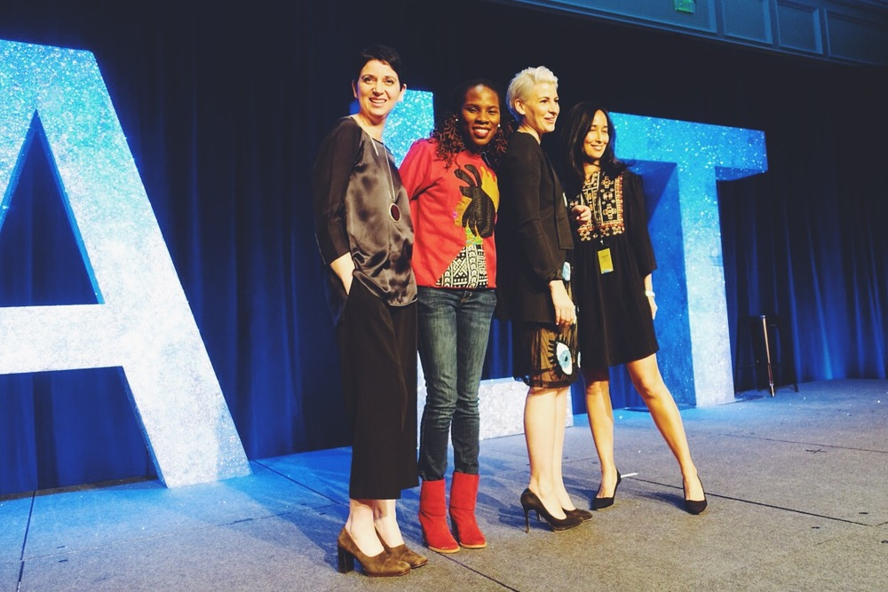Gabrielle, with opening keynote speakers Luvvie Ajayi, Jihan Zencirli and Mariam Naficy. Not pictured: Sarah Michelle Gellar.