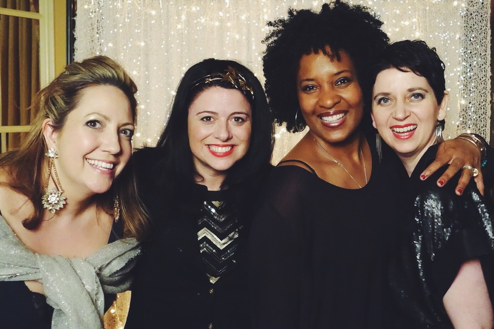 Helen Jane,   Laura Mayes  , Gabrielle and I at the Thursday night party.