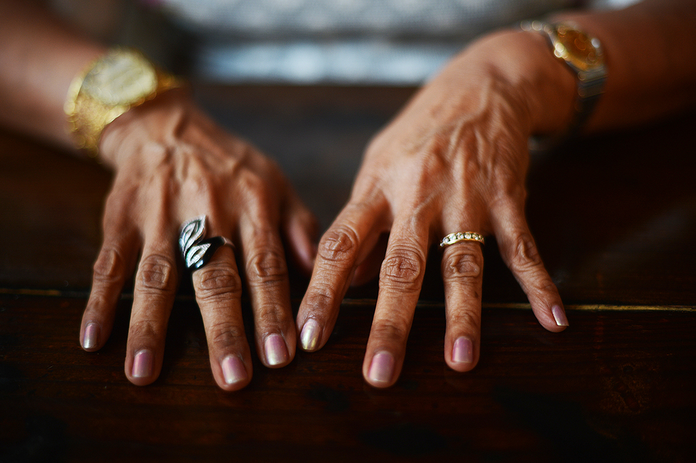Indrani's hands.