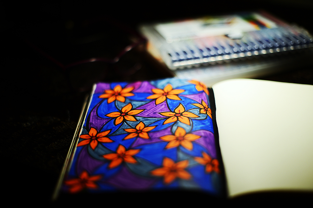 (one)  I've taken to making repetitive patterns in my journal.  It's exceedingly therapeutic.