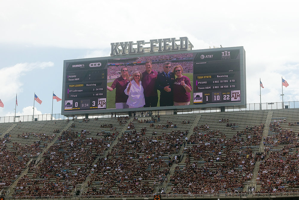 Kyle Field is the name of the university's football stadium.  At capacity, it holds about 100,000 people, and is the fourth largest stadium in the United States -- which really, is just insane.