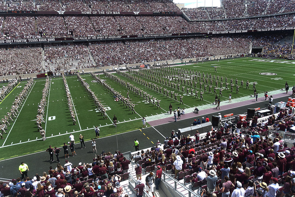 Next up:  The Fightin' Texas Aggie Band.  So here's a fun fact:  Texas A&M University actually began as a military university, and while less than 10% of the current student body is a member of the Corps of Cadets, Texas A&M still manages to commission more officers into the armed forces in the nation every year, except for the United States Military Academies.  That said, every member of the band is a member of the corps, and the corp prides itself on its military precision. They're really fun to watch, especially in contrast to the way the Marching Storm broke it all the way down just minutes before.