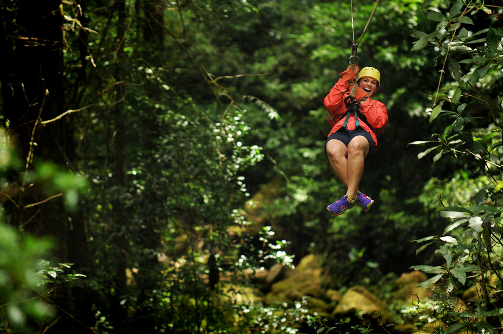 My friend Kim, flying through the Costa Rican tree canopy, June 2014.