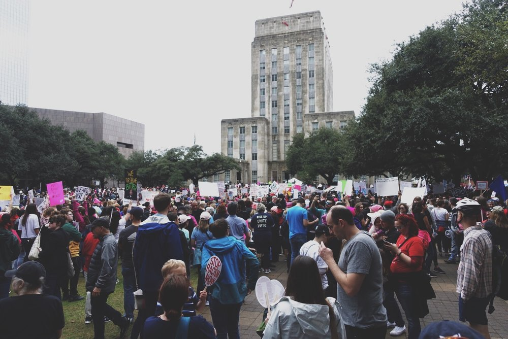 The end of the march, in front of Houston City Hall.