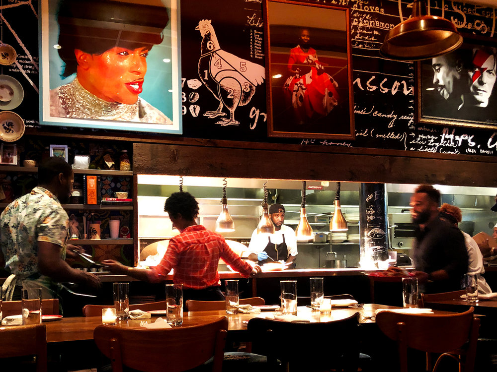 Red Rooster Restaurant , chef  Marcus Samuelsson 's fanous joint.  Harlem, New York City.  The food is exceptional.