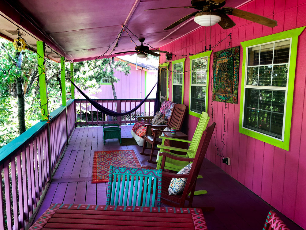 """The front porch of the """"Lemon, Lime and Coconut"""" bungalow."""