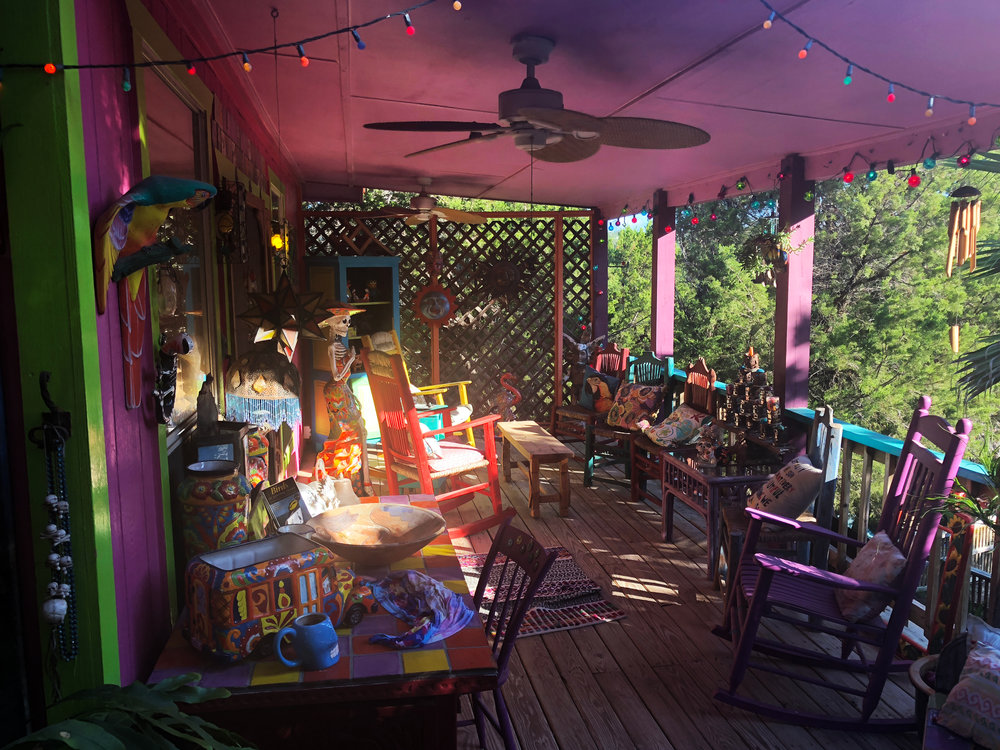 The porch of Cat's home/main office. I just love her colour fearlessness .